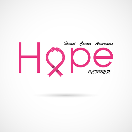 """""""Hope"""" typographical.Hope word icon.Breast Cancer October Awareness Month Campaign Background.Women health vector design.Breast cancer awareness logo design.Breast cancer awareness month icon.Vector illustration"""