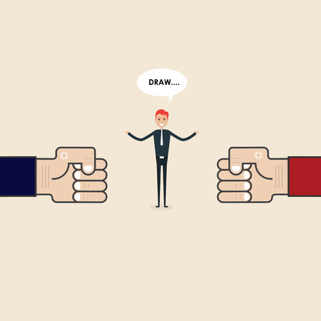 Competition,Mediation or Referee concept.Businessman and blue,red corner sign.Mediator assists disputing parties.Resolving conflict or dispute resolution.Referee between two businessmen. Illustration
