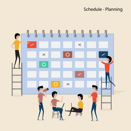 Calendar with schedule plans.People filling out the schedule in the table.Work planning.Daily routine.Concept for business planning.Events & news.Reminder and schedule.Web banner.Business presentation.Vector illustration