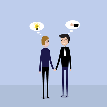 Partnership or Cooperation concept.Two business people and business deal sign.Handshake Business concept.Teamwork and Connection elements.Business vector concept illustration