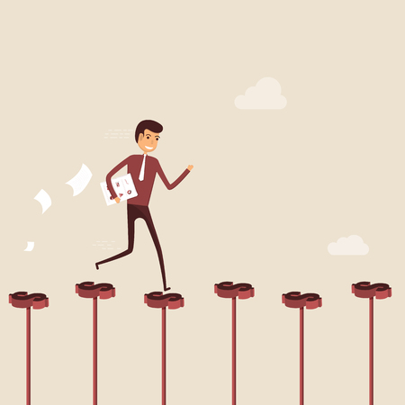 Businessman walking on the red dollar sign.Way of success.Concept for success.Businessman walking on the street of success.Businessman on the road to success in business.Business vector illustration