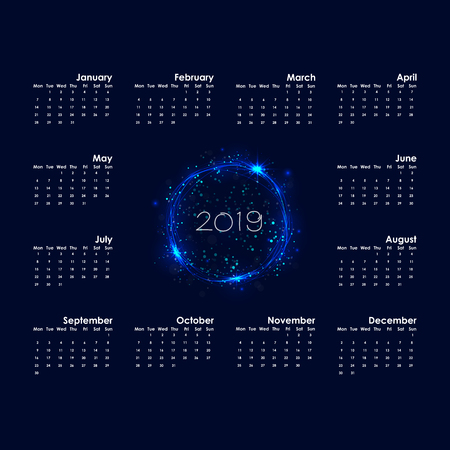 2019 Calendar Template.Starts Monday.Yearly calendar vector design stationery template.Happy New Year 2019 background.Abstract burning circles with glitter swirl trail calendar background.Vector illustration. Illustration