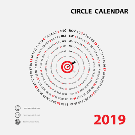 2019 Calendar Template.Circle calendar.Calendar 2019 Set of 12 Months.Yearly calendar vector design stationery template.Happy New Year 2019 background.Vector illustration.
