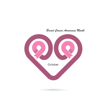Heart shape & Pink Ribbon icon.Breast Cancer October Awareness Month Campaign banner.Women health concept.Breast cancer awareness month logo design.Realistic pink ribbon.Pink care logo.Vector illustration Ilustrace
