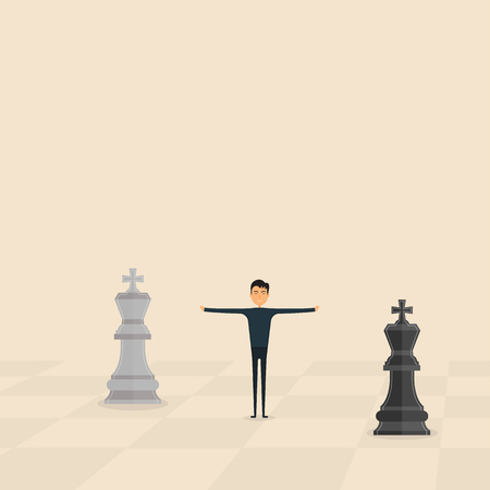 Competition,Mediation or Referee concept.Business marketing strategy.Businessman & Chess king pieces.Mediator assists disputing parties.Resolving conflict or dispute resolution.Referee between two King of chess symbol.Business vector concept illustration