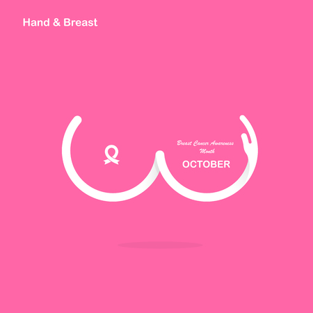 Hand shape & Breast icon.Breast Cancer October Awareness Month Campaign banner.Women health concept.Breast cancer awareness month logo design.Realistic pink ribbon.Pink care logo.Vector illustration