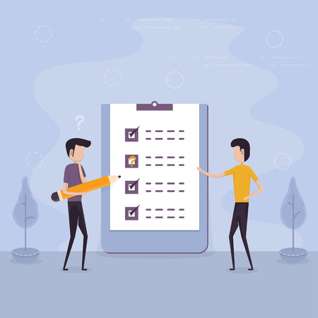 Businessmen holding giant pencil and big checklist.Marked checklist & a clipboard paper.Business organization & achievements of goals concept.Check list with tick mark.Businessman with questionnaire.Successful completion of business tasks.Flat vector illustration.