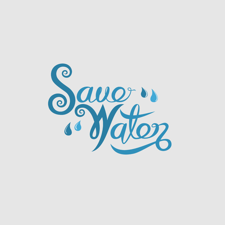 Blue Save Water Typographical Design Elements. World Water Day icon.