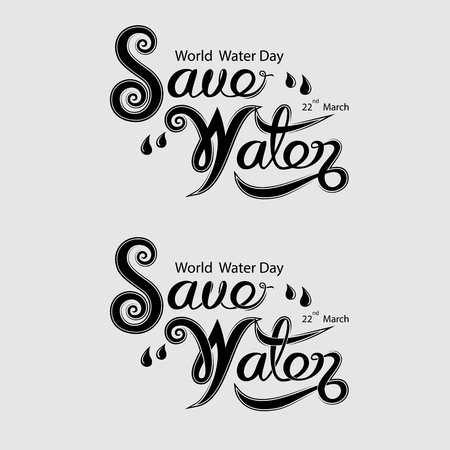 Black Save Water Typographical Design Elements.World Water Day icon.March,22.Minimalistic design for World Water Day concept.Vector illustration
