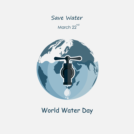 The Globe,Water drop and water tap icon.The globe icon vector logo design template.World Water Day icon.World Water Day idea campaign concept for greeting card and poster.Vector illustration Illustration