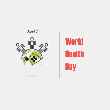 Family icon,Globe sign and stethoscope vector logo design template.World Health Day icon.World Health Day idea campaign concept.Vector illustration Illustration