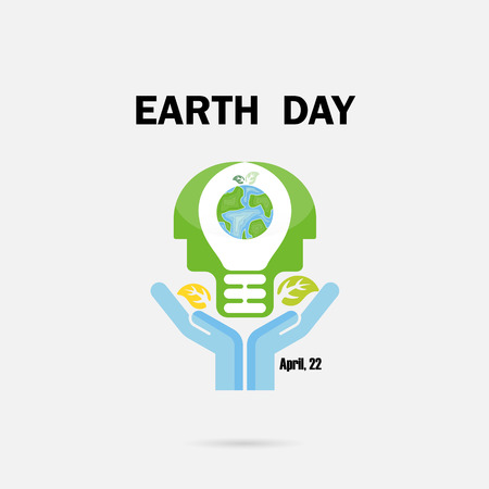 Human hands and globe icon with head light bulb vector logo design template.Earth Day campaign idea concept.Earth Day idea campaign for greeting Card,Poster or Abstract background.Vector illustration