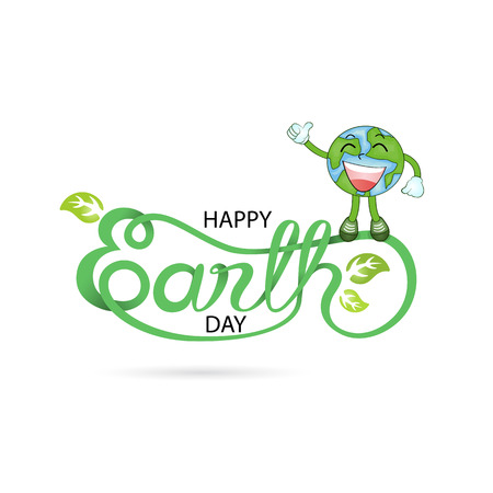 Green Happy Earth Day Typographical Design Elements. Happy Earth Day hand lettering icon.Happy Earth Day logotype symbol.Design for greeting Card,Poster,Brochure or abstract background.Vector illustration
