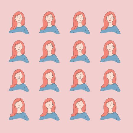 Young woman with different facial expressions. Young girl smiling, happy, kind, unhappy face character. Set of woman emotions.Facial expression.Lifestyle concept. Vector design illustrations.