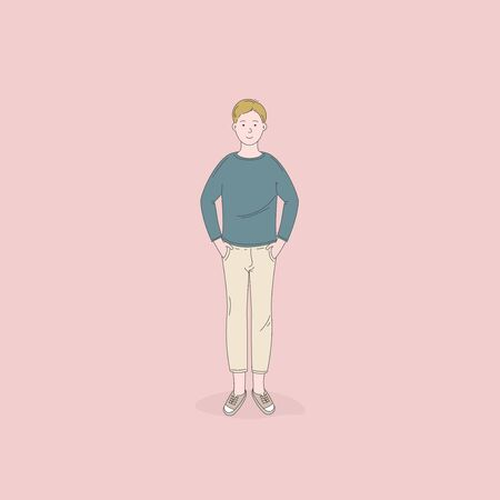 The man standing poses isolated on background.Lifestyle concepts.Vector design illustrations.