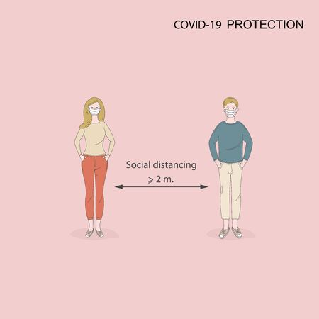 Social distancing, keep distance in public society people to protect from COVID-19 coronavirus outbreak spreading.Man and woman keep distance away in the meeting with virus pathogens.Cartoon character.Vector illustration.