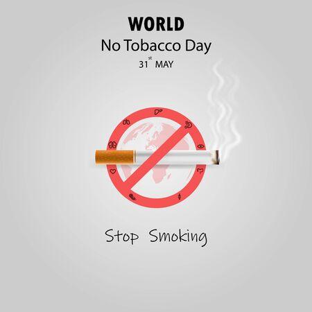 世界没有烟草日infographic背景设计。世界上没有吸烟日印刷设计元素。ay 31st世界没有烟草日。没有吸烟日意识想法竞选。传染媒介例证。