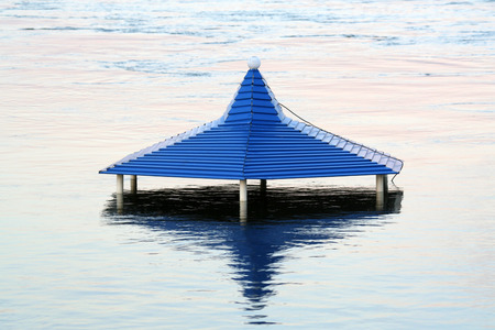 deluge: The roof of the pavilion during the flood on the Yenisei River