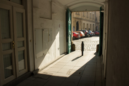courtyard: The gate to the courtyard in Prague
