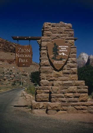 Front view image of Zion National Park east entrance sign