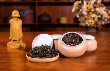 Tea leaves in tea pot