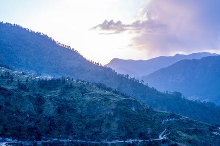 Sunset in Sankri Range, Uttrakhand, India 免版税图像
