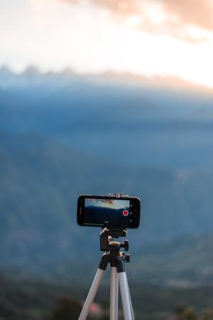 Capturing the Sunrise at Khaliya Top in Mobile, Munsyari - Uttrakhand Stock Photo