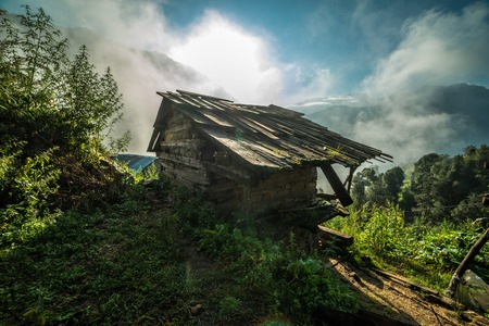 Beautiful view of traditional wooden house in mountain, India