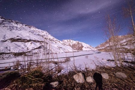 Full moon night in winters in himalaya - winter spiti in himalayas - India