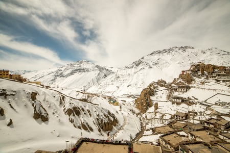 Photo of village in winters in himalayas - Spiti valley