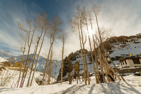 Photo of Village on mountain rocks in spiti - Landscape of himalays in winters in india