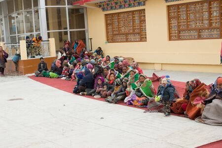 Spiti, Himachal Pradesh, India - March 24, 2019 : local people gathering for lama mask dance in himalayas -