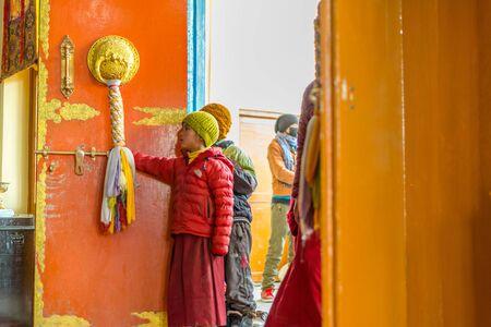 Spiti, Himachal Pradesh, India - March 24, 2019 : Photo of Kid lama in himalayas