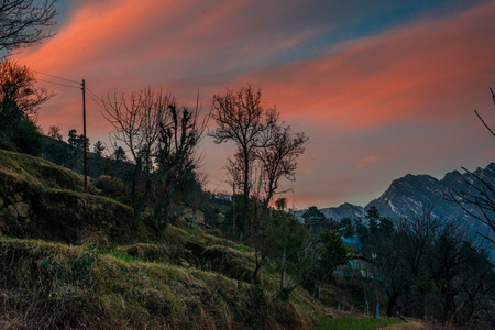 scene of sunset on Mountain Peaks In Indian Himalaya -
