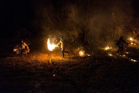 Kullu, Himachal Pradesh, India - December 07, 2018 : Diwali celebration in local style in himalayas - Traditional Diwali in India Redactioneel