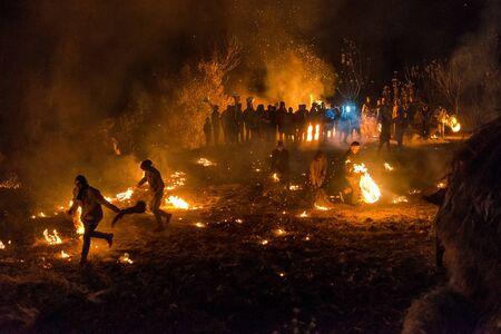 Kullu, Himachal Pradesh, India - December 07, 2018 : Diwali celebration in Traditional way in himalayas -