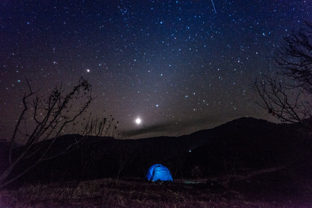 Camping tent under millions stars in himalayas - India