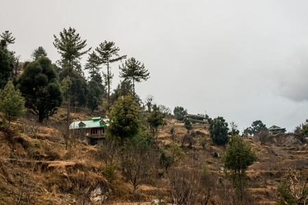 Typical wooden alpine house in himachal in himalayas - India