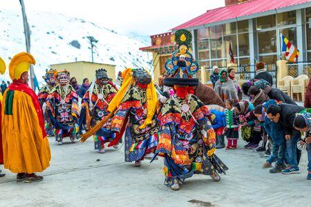 Spiti, Himachal Pradesh, India - March 24, 2019 : Traditional Mask Dance Festival in Spiti Valley