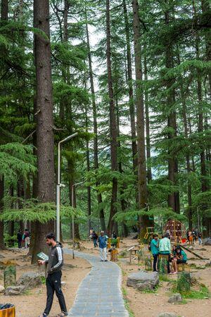 Manali, Himachal Pradesh, India - May 07, 2019 : Photo of Tourist enjoying in van vihar national park in himalayas