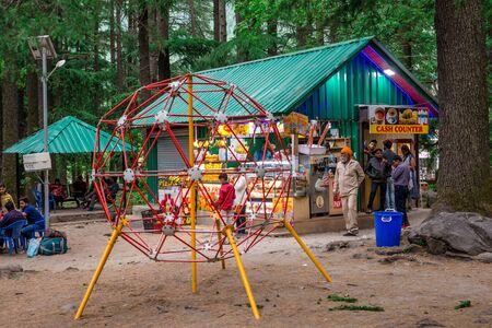 Manali, Himachal Pradesh, India - May 07, 2019 : Shop or restorent in van vihar national park in himalayas -