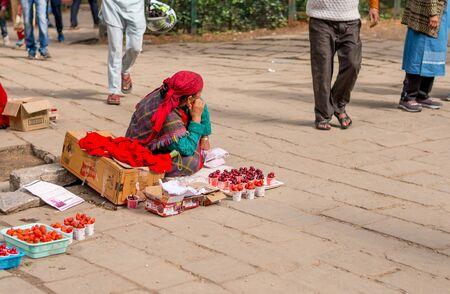 Manali, Himachal Pradesh, India - May 27, 2019 : Local Seller at Hidimda Devi Temple in Manali, Himachal Pradesh, India