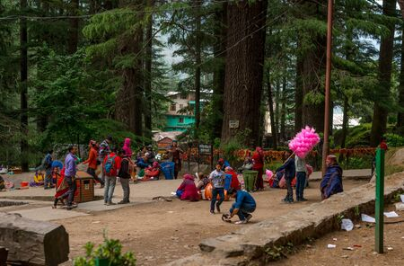 Manali, Himachal Pradesh, India - May 27, 2019 : Tourists are enjoying at hidimba temple