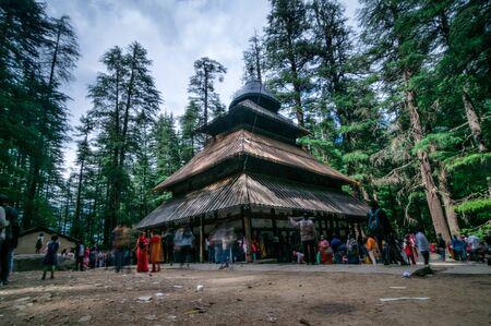 Manali, Himachal Pradesh, India - May 27, 2019 : Hidimda Devi Temple in Manali, Himachal Pradesh, India -