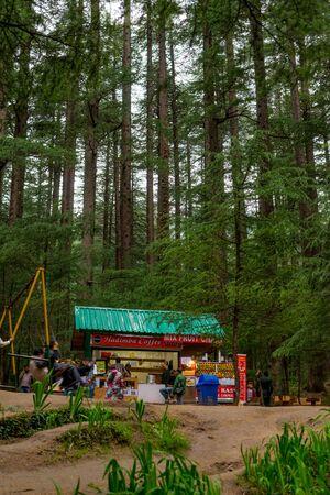 Manali, Himachal Pradesh, India - May 27, 2019 : Shop for tourist in van vihar - hidimba temple - Editöryel