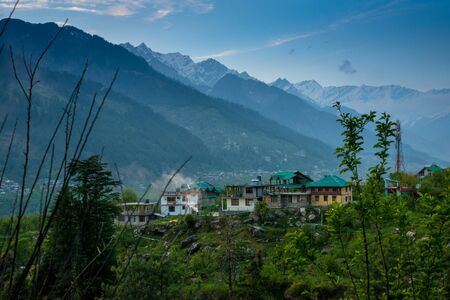 Photo of himalayan village in manali - 스톡 콘텐츠