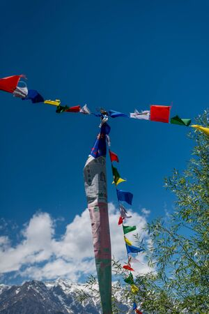 Budhist flags in the mountains near hamta -