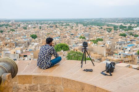 Jaisalmer, Rajasthan, India - July 29, 2019 : Photographer Capturing Aerial View of Golden of Rajasthan