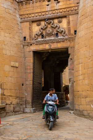 Jaisalmer, Rajasthan, India - July 29, 2019 : Vehicle in Jaisalmer Fort. India