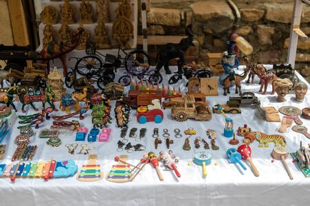 Jaisalmer, Rajasthan, India - July 29, 2019 : Local Shop in Jaisalmer Fort -